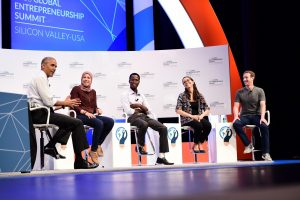 Mai Medhat (CEO) on stage at Global Entrepreneurship Summit with President Obama and Mark Zuckerberg.